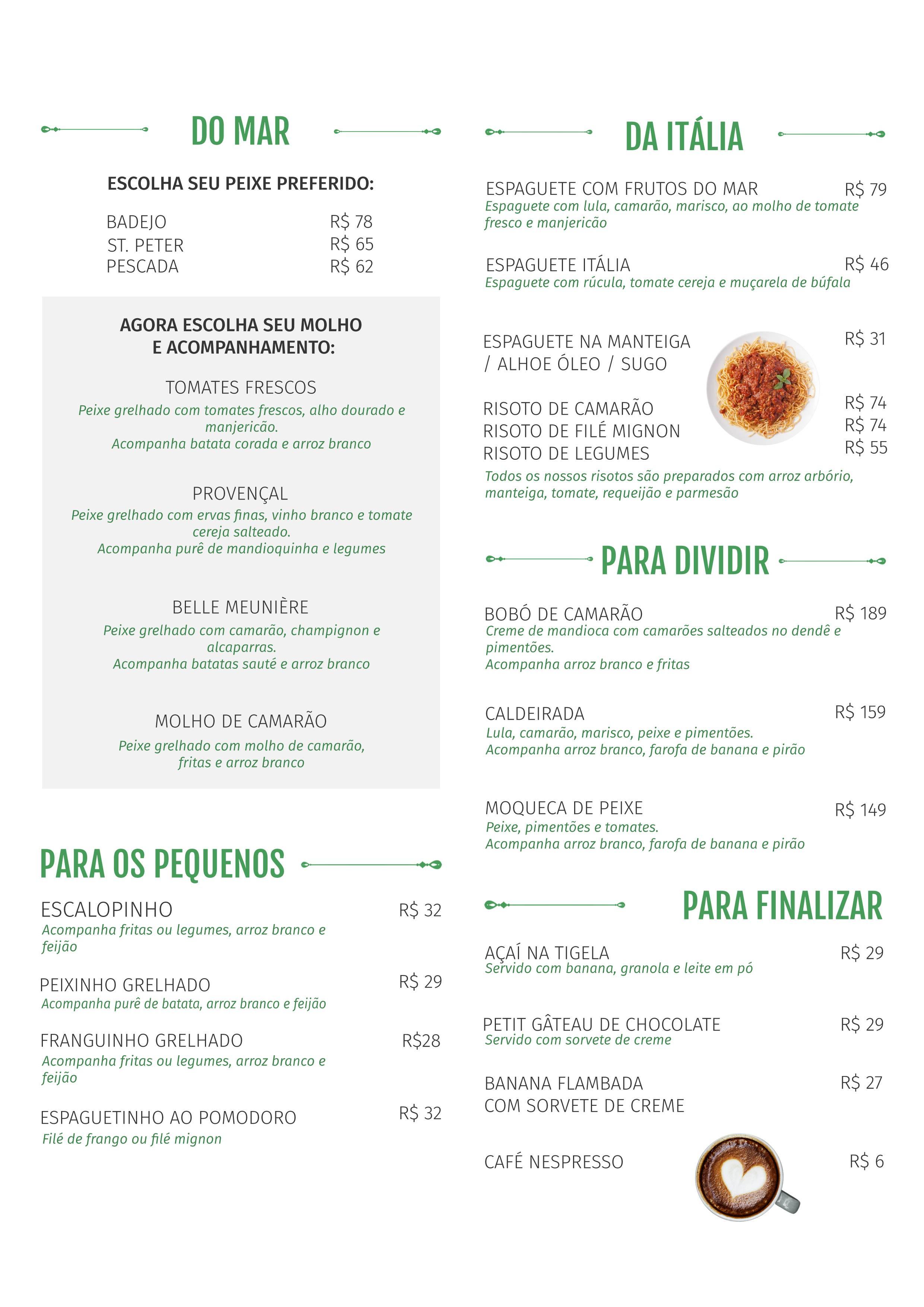 Cardápio Restaurante Maresias